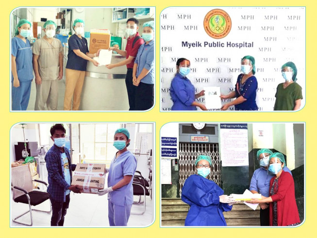 Contribution of 1.25 million mmk worth of medicines to public hospitals located in Yangon, Pyay, Sittwe, Myeik for prevention, containment & treatment of Covid-19.